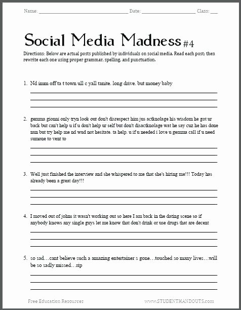 Impulse Control Worksheets Printable Life Skills Worksheets High School Premium for Middle