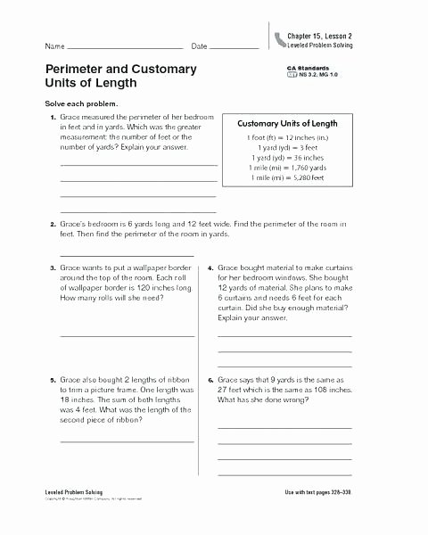 Inches Measurement Worksheets Conversion Word Problems Grade Measurement Worksheets 6 Cust