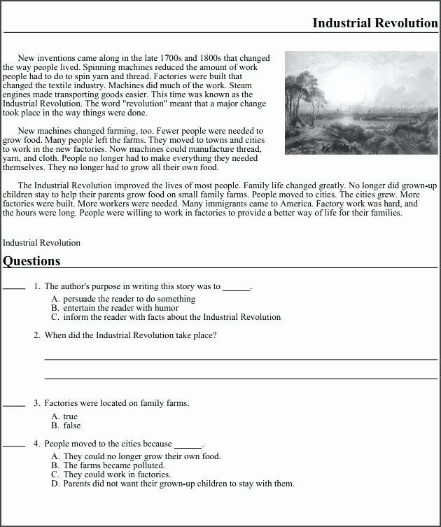 Industrial Revolution Worksheets Pdf Beautiful Grade Reading Prehension Classroom Ideas Free Tutoring