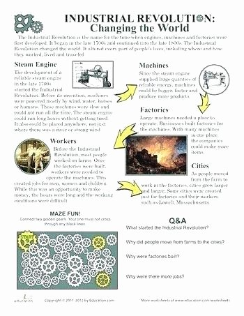 Industrial Revolution Worksheets Pdf Elegant Industrial Revolution Reading Prehension Worksheets