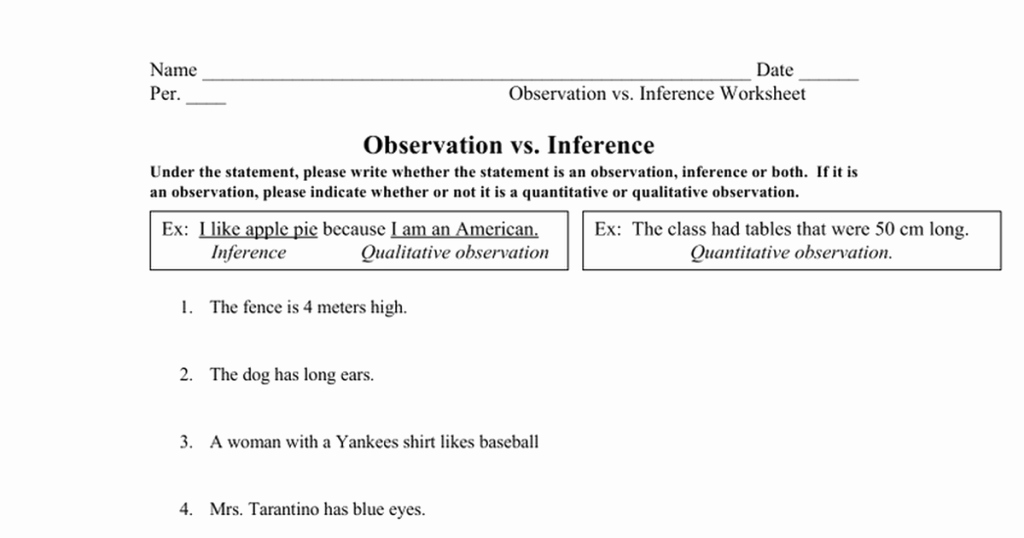 Inference Worksheets for 4th Grade Observation Vs Inference Worksheet Mystreamingub