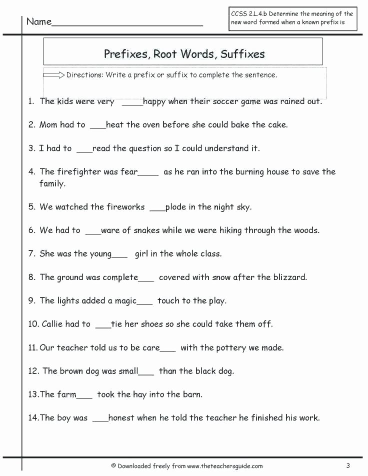 Inflected Endings Worksheets and Root Words Worksheets Prefix Suffix Grade Worksheet Year