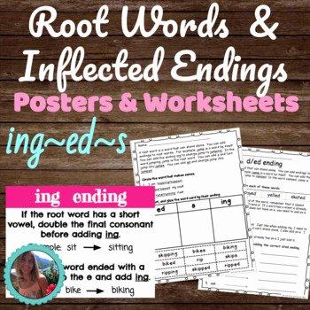 Inflected Endings Worksheets Ed Ing Word Cards Worksheets & Teaching Resources