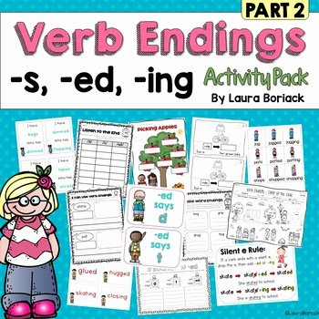 Inflected Endings Worksheets Inflectional Endings S Ed Ing Activity Pack Part 2