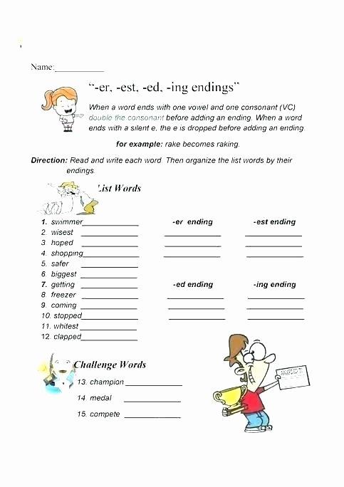 Inflected Endings Worksheets Words Ending In Ed Worksheets