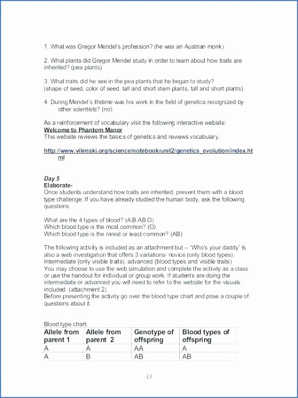 Inherited Traits Worksheet Lovely Genetics Worksheets