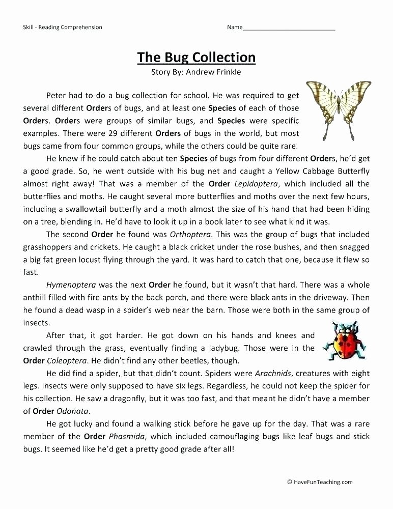 Insect Reading Comprehension Worksheets Free Printable Worksheets Grade 1 Download for Reading