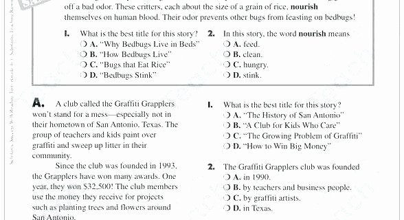 Insect Reading Comprehension Worksheets Grade Reading Prehension Worksheets with Answers