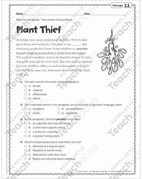 Insect Reading Comprehension Worksheets Plant Thief Close Reading Passage