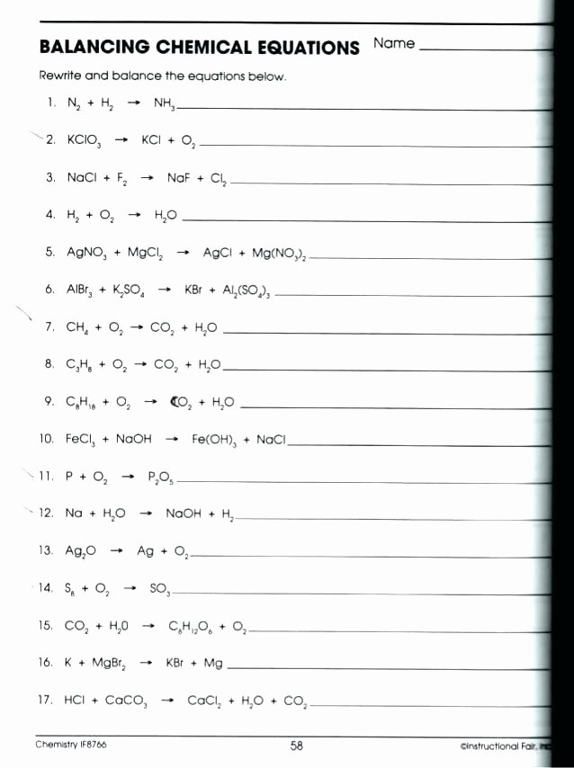 Integrated Physics and Chemistry Worksheets Unique Free Printable Chemistry Worksheets Basic Math solving Using