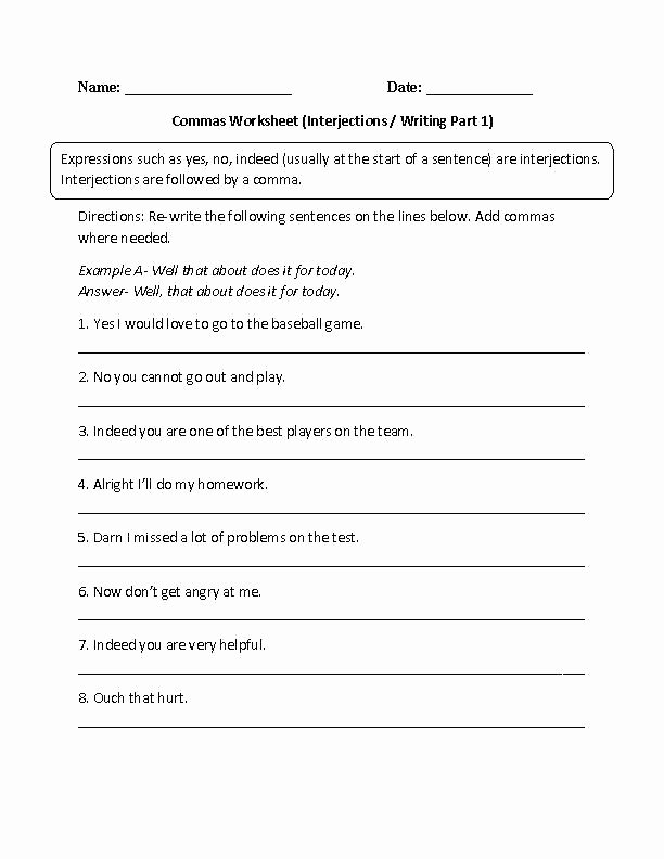 Interjection Worksheet Pdf Parts Speech Worksheets for High School with Answers Pdf