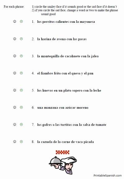 Intermediate Spanish Worksheets Awesome Free Printable Spanish Worksheet Packet On Food Vocabulary