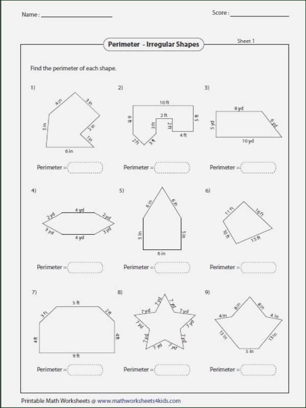 Irregular Shapes Worksheet Perimeter Worksheets