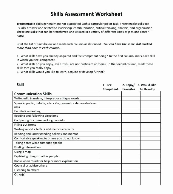 Job Skills Worksheets New Skills Inventory Checklist
