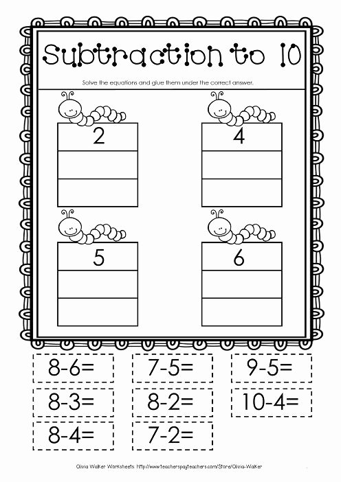 Kindergarten Cut and Paste Worksheets Cut and Paste Subtraction to 10 Subtraction to Ten