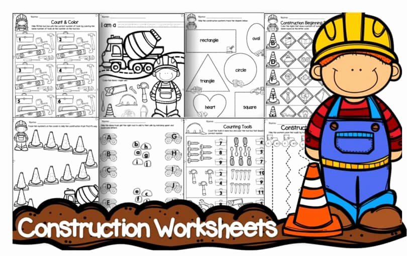 Kindergarten Cut and Paste Worksheets Free Construction Worksheets — Preschool Play and Learn