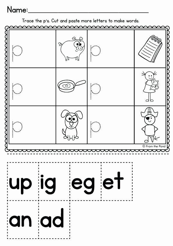 Kindergarten Cut and Paste Worksheets Free Printable Cvc Worksheets for Kindergarten Super