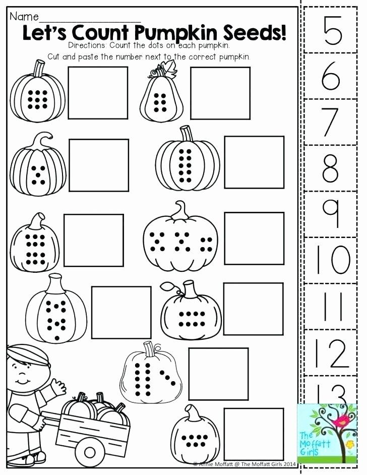 Kindergarten Cut and Paste Worksheets Halloween themed Worksheets Math Second Grade Practice that