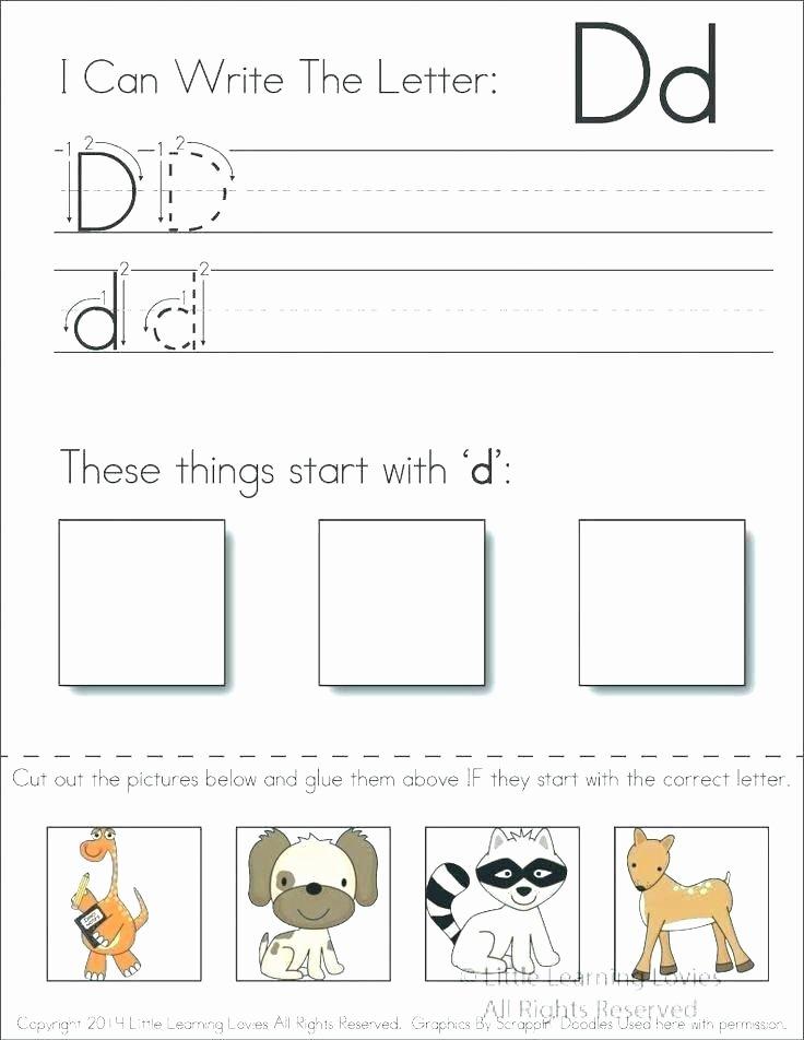 Kindergarten Cut and Paste Worksheets Letter D Preschool Worksheets