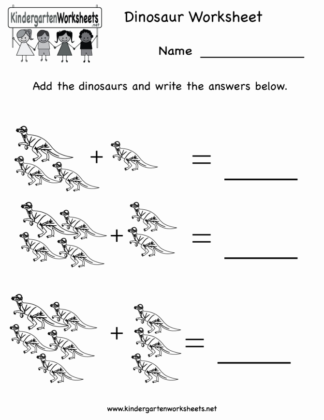 Kindergarten Dinosaur Worksheets Kids Worksheets Worksheet Works Preschool Ree Printable