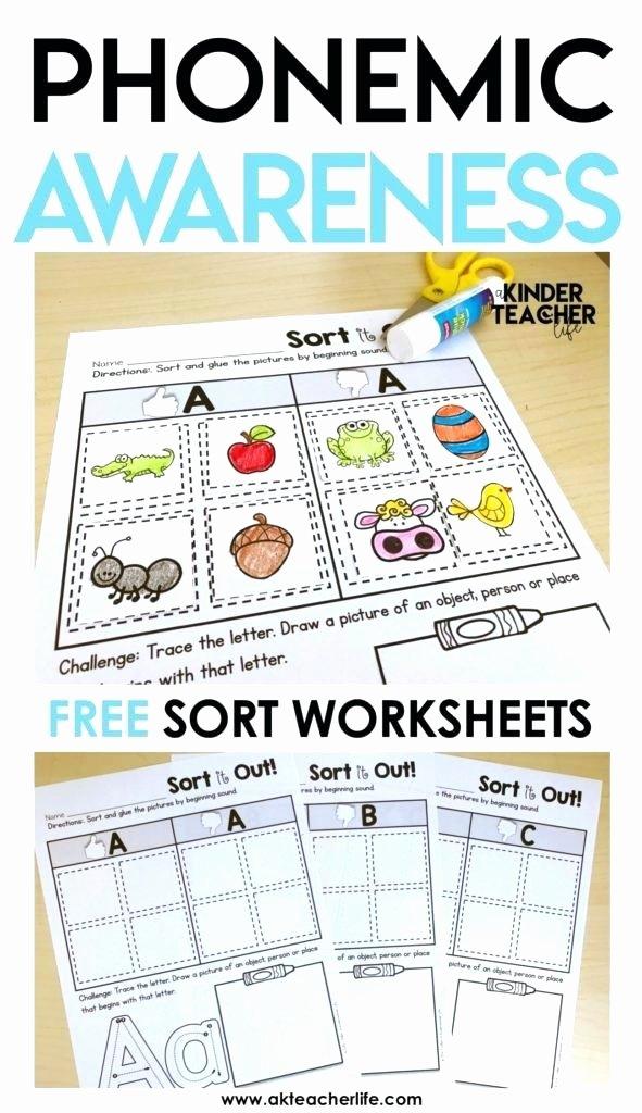 Kindergarten Math sorting Worksheets Free Phonemic Awareness sorting Worksheets A Life Phoneme
