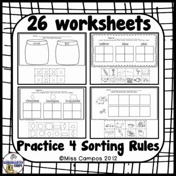 Kindergarten Math sorting Worksheets Kindergarten Math sorting by Color by Size by Shape