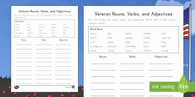 Kindergarten Math sorting Worksheets Verbs for Kindergarten Best Veterans Day Noun Verb and