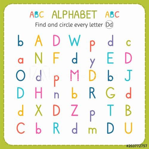Kindergarten Number Line Worksheets Find and Circle Every Letter D Worksheet for Kindergarten