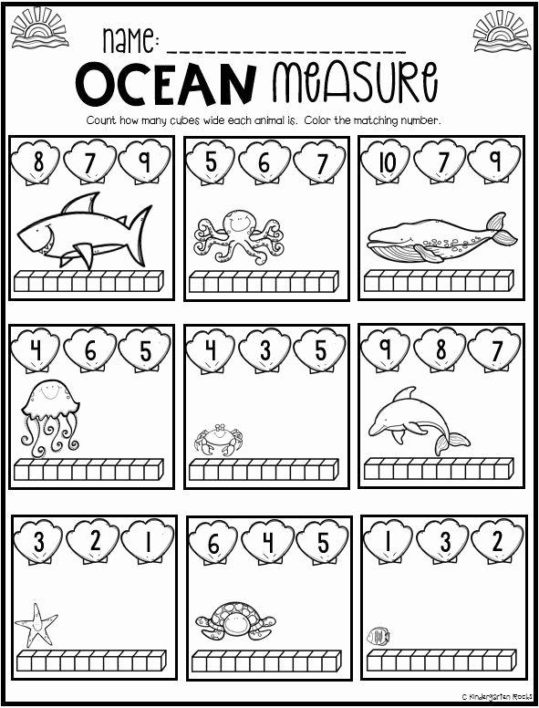 Kindergarten Ocean Worksheets Ocean Math and Literacy Worksheets for Preschool