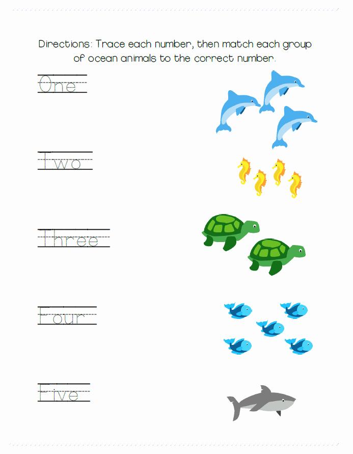 Kindergarten Ocean Worksheets Simple Tracing and Matching Worksheet with Ocean Animal