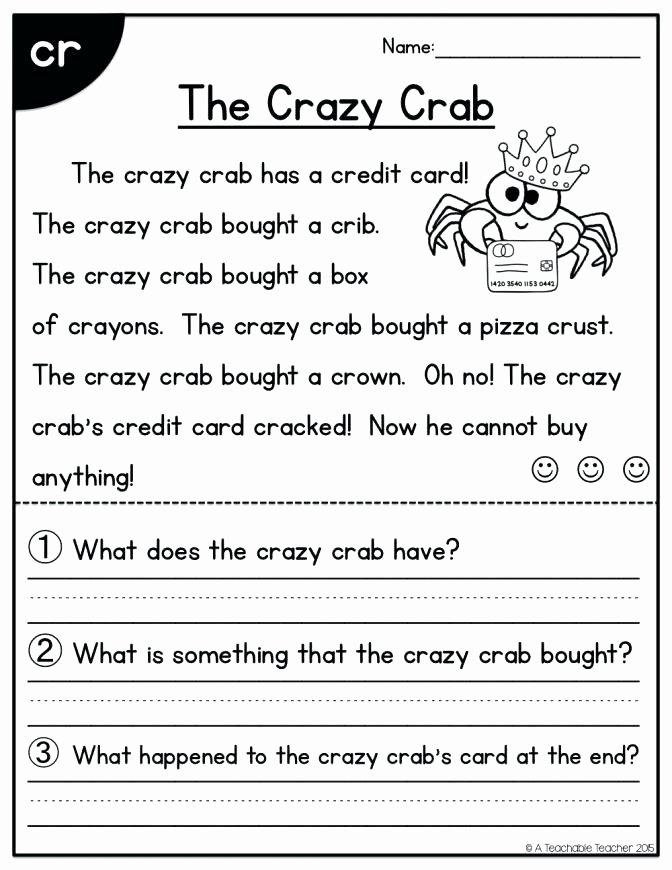 Kindergarten Reading Comprehension Worksheets Pdf 1st Grade Reading and Prehension Worksheets