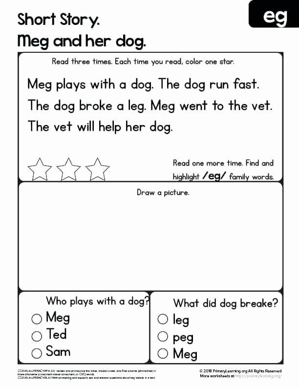 Kindergarten Reading Comprehension Worksheets Pdf Kindergarten Reading Worksheets Free Prehension Pdf