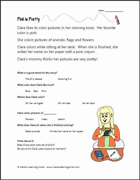 Kindergarten Reading Comprehension Worksheets Pdf Kindergarten Worksheets Literacy Prehension Reading Kids
