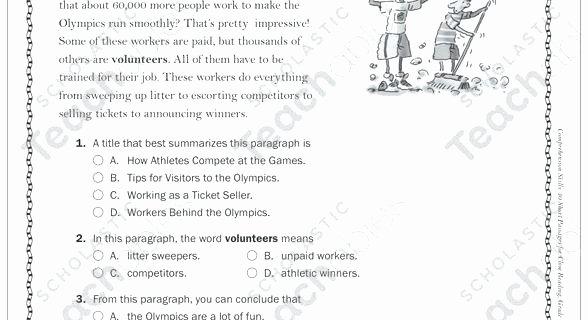 Kindergarten Reading Comprehension Worksheets Pdf Olympics Reading Prehension Worksheets