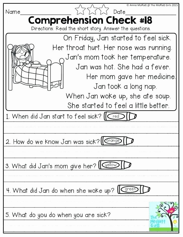 Kindergarten Reading Comprehension Worksheets Pdf Reading Prehension Worksheets Grade Kindergarten Level
