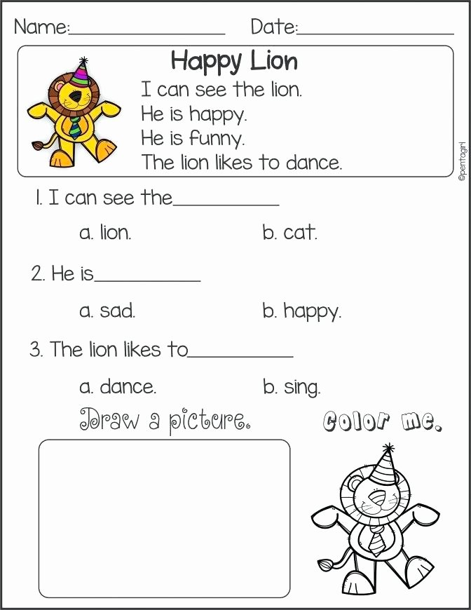 Kindergarten Reading Comprehension Worksheets Pdf Reading Prehension Worksheets Pdf Grade Reading
