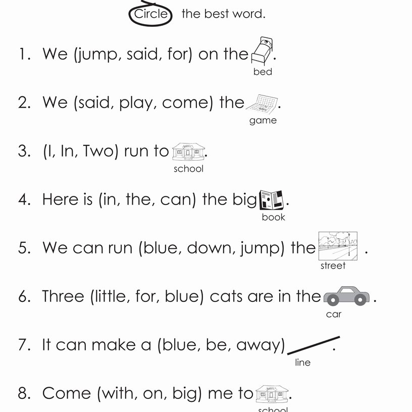 Kindergarten Reading Worksheets Sight Words Dolch High Frequency Words Free Printable Worksheets