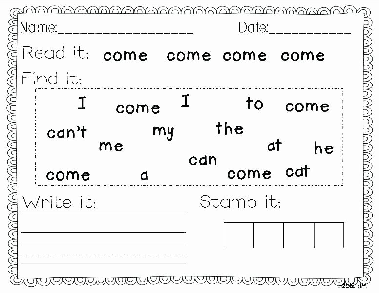 Kindergarten Reading Worksheets Sight Words Free Printable Sight Word Worksheets