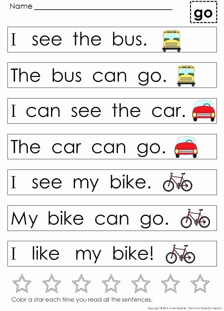 Kindergarten Reading Worksheets Sight Words Kinder Reading Worksheets