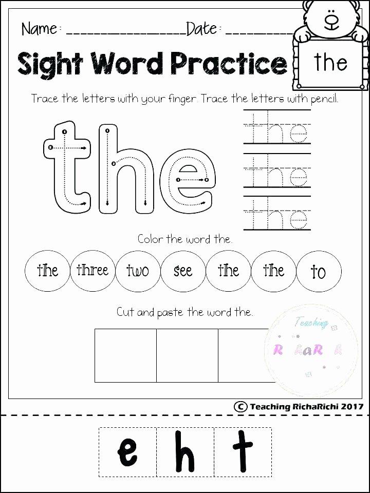 Kindergarten Reading Worksheets Sight Words Kindergarten Reading and Writing Worksheets