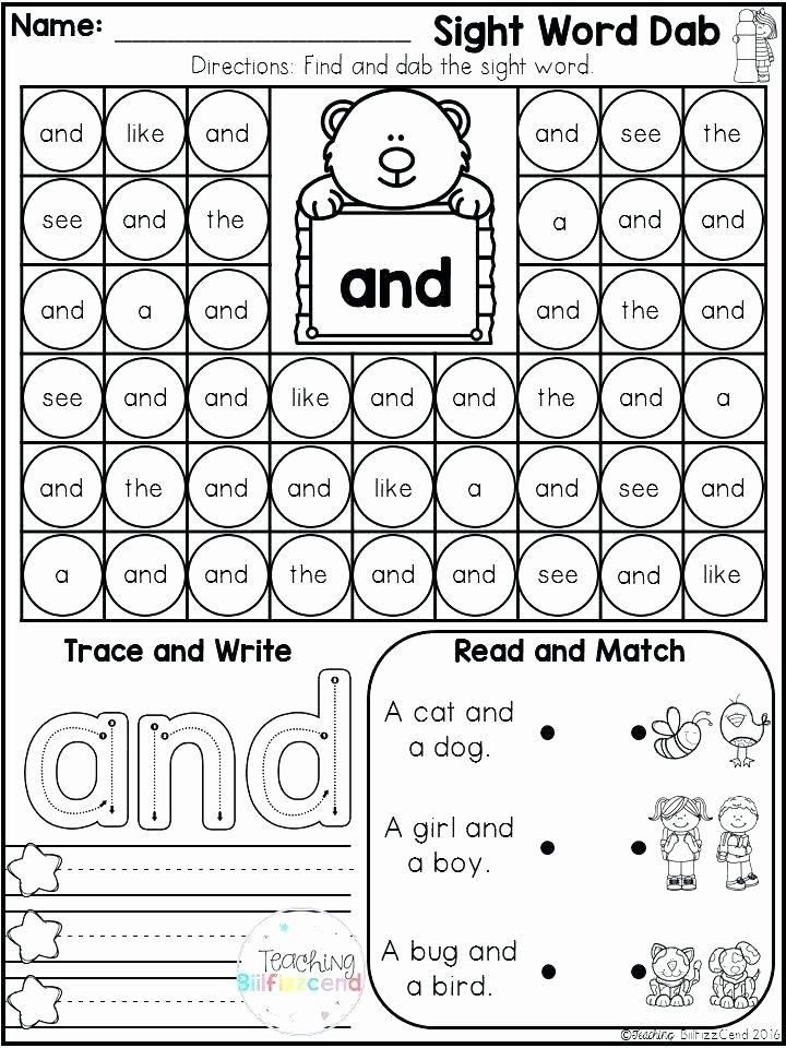 Kindergarten Reading Worksheets Sight Words Kindergarten Reading Sight Words Worksheets Works Math High