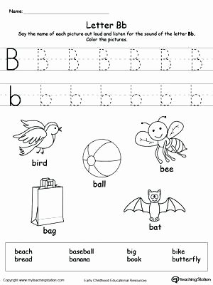 Kindergarten Science Worksheets Free Letter B Worksheets Kindergarten Words Starting with Letter
