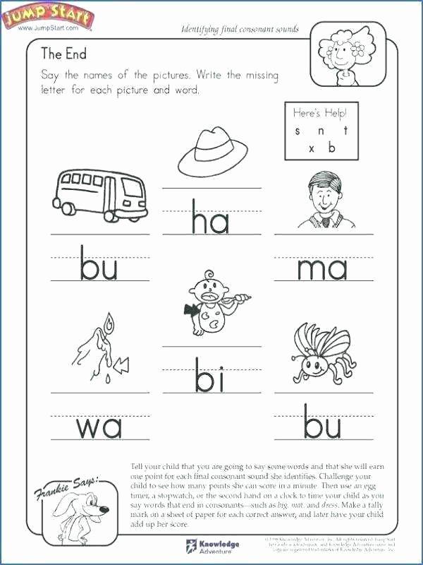 Kindergarten Science Worksheets Worksheets End sound Kindergarten Math for Jumpstart Science