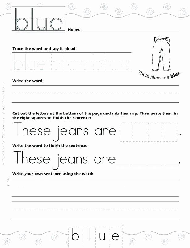Kindergarten Sentence Writing Practice Worksheets Second Grade Sight Word Sentences Site Worksheets for First