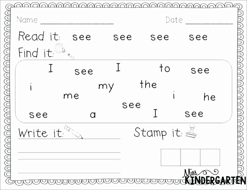 Kindergarten Sight Words Worksheet Free Free Sight Word Worksheets Kindergarten Cutting Cut and