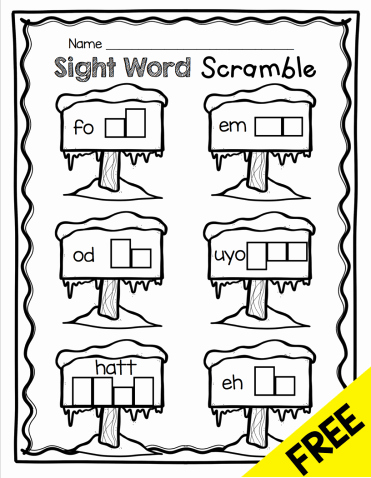 Kindergarten Sight Words Worksheet Free January No Prep Math & Literacy Pack Freebies