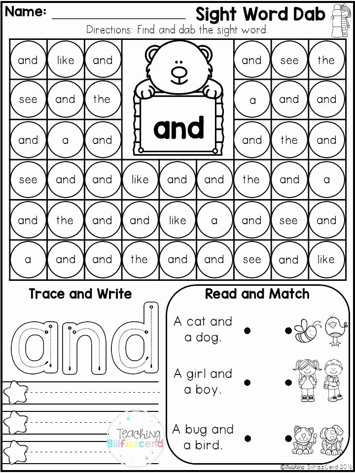 Kindergarten Sight Words Worksheets Pdf Beautiful Kindergarten Reading Sight Words Worksheets Works Math High