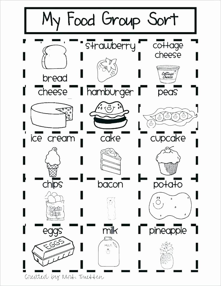 Kindergarten sorting Worksheets Cooking Worksheets for Kids