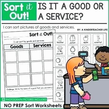 Kindergarten sorting Worksheets Goods and Services Worksheets for Kindergarten