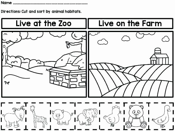 Kindergarten sorting Worksheets Habitat Worksheets